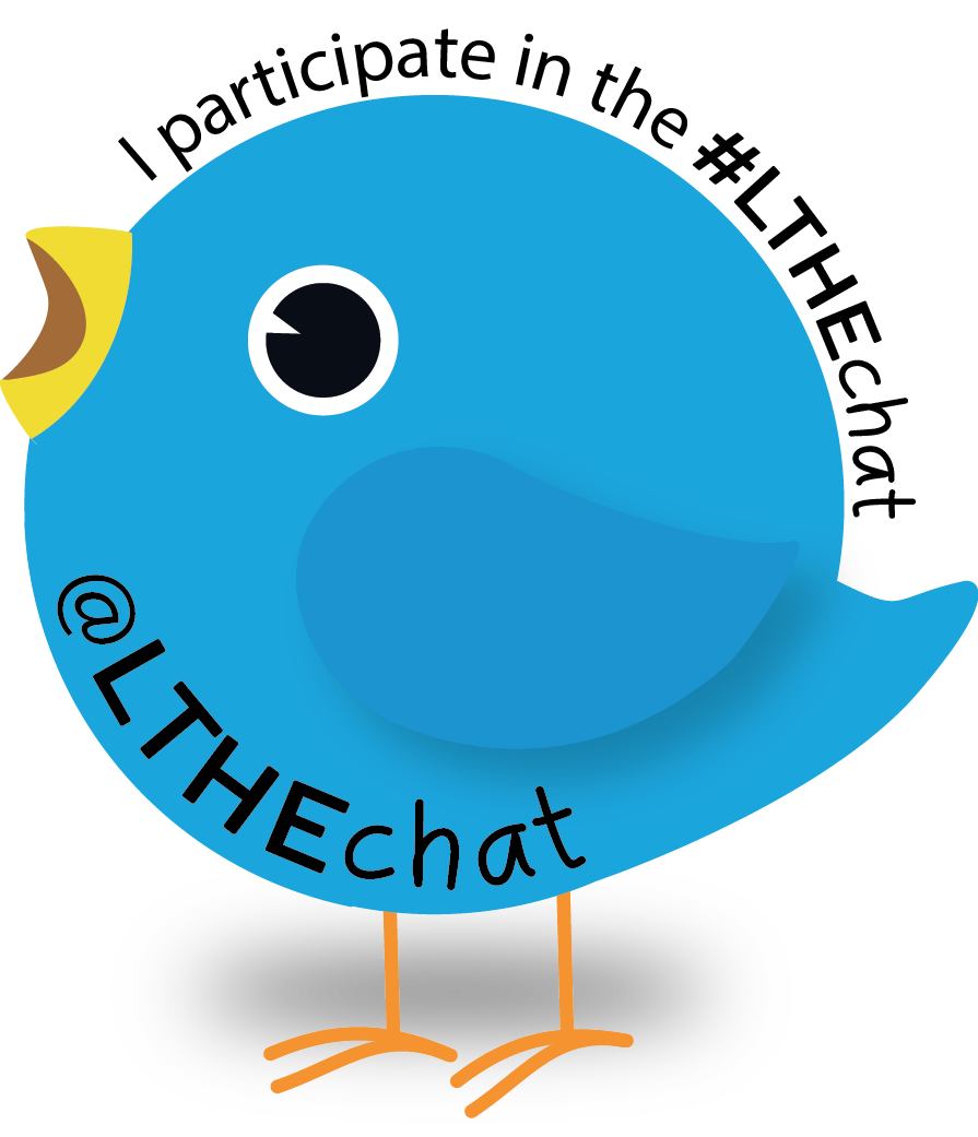 Blue #LTHEChat badge.
