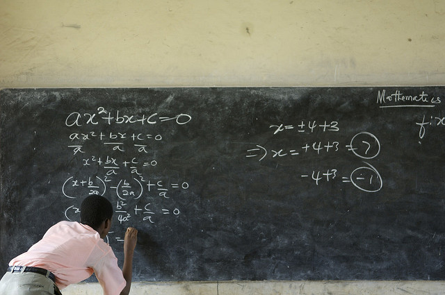 Winston Mills-Compton teaches a class in mathematics at the Mfantsipim Boys School in Cape Coast, Ghana, June 20, 2006. Mfantsipim is one of the oldest schools in Cape Coast, a town that prides itself as the academic center of the country. UN Secretary General Kofi Annan is one of the school's alumni. (Photo by Jonathan Ernst)